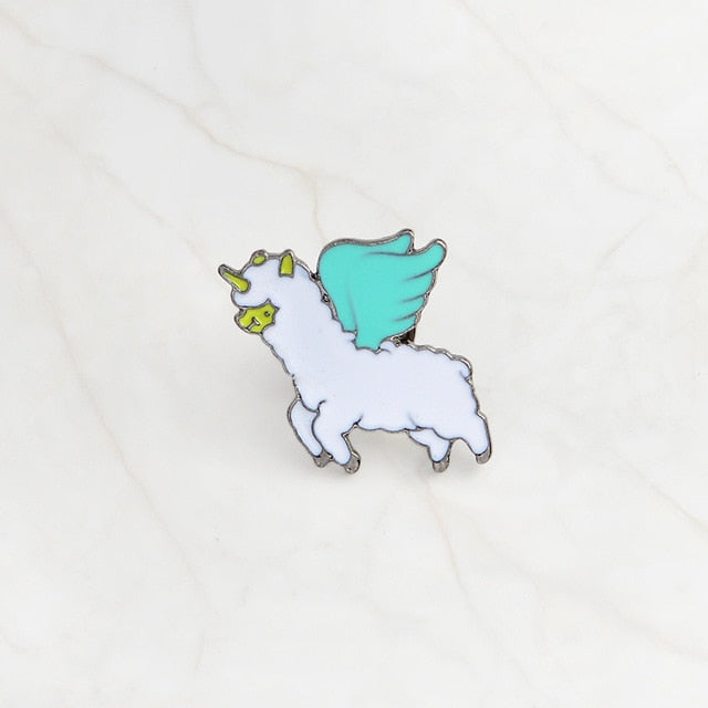 Flying Alpaca Enamel Pin
