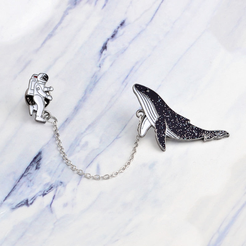 Glitter Whale Spaceman Enamel Pin Set