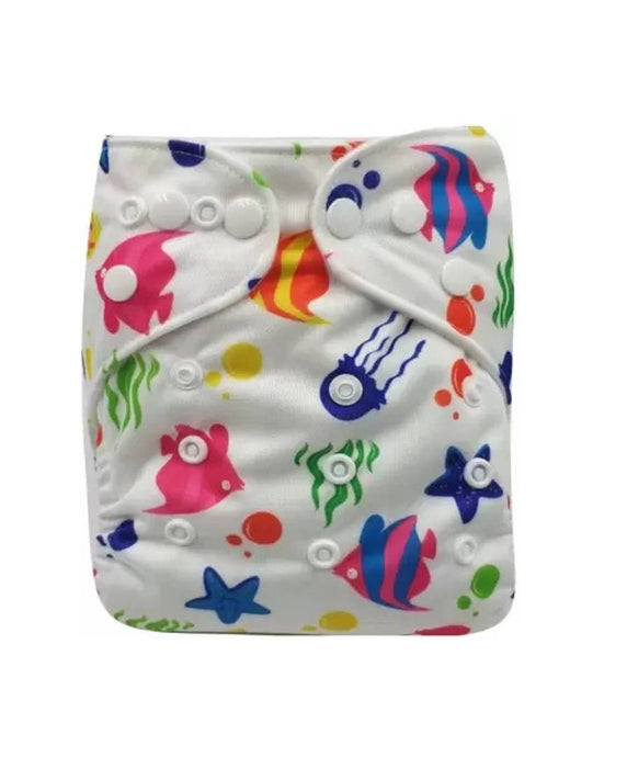 Washable Baby Cloth Cover Diaper pocket Waterproof Baby Diapers Reusable Cloth Nappy with 3 layer microfiber insert pad - (Printed + White)