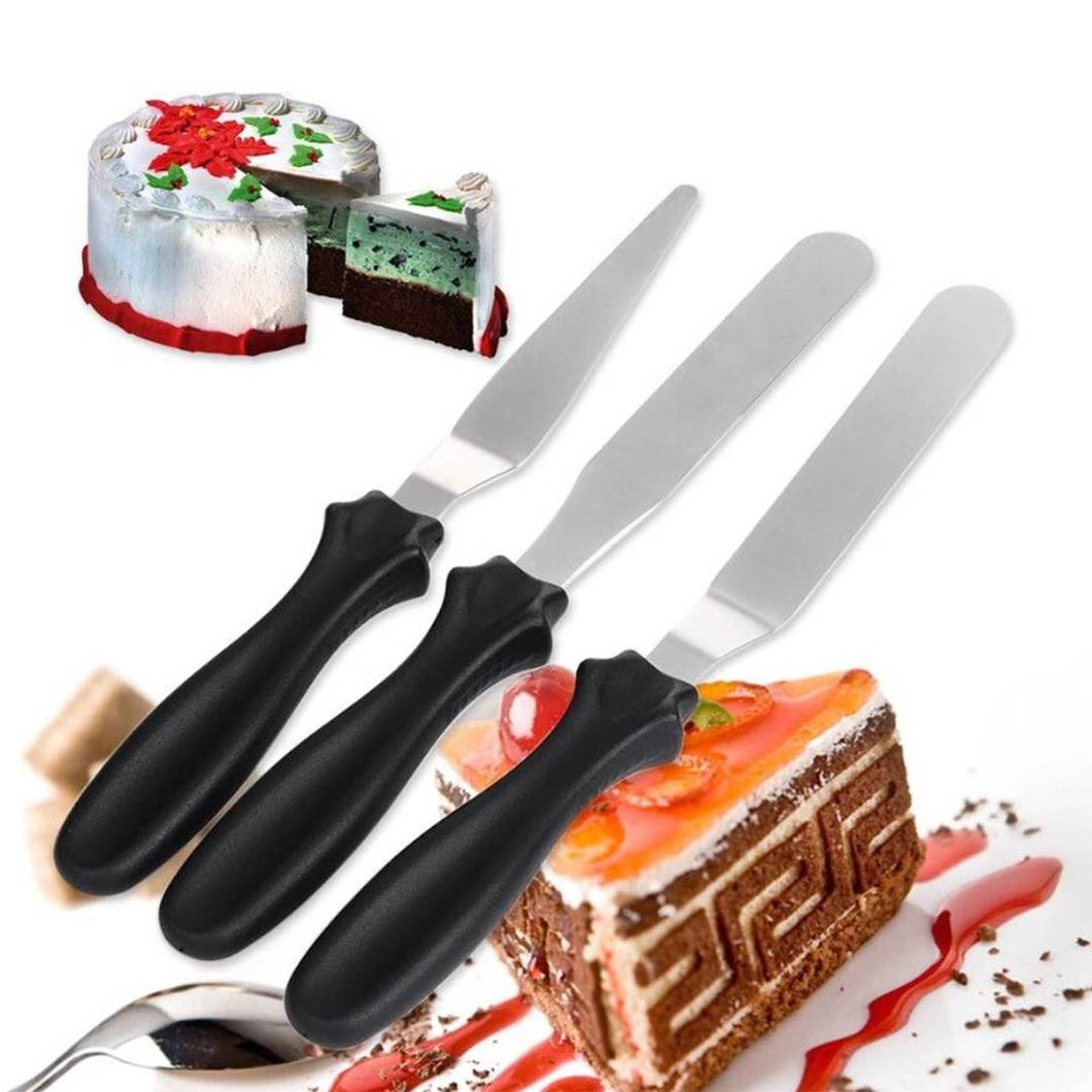 Multi-Function Stainless Steel Cake Icing Spatula Knife Set, Pack of 3 Steel, Plastic Cake Server (Multicolor, Pack of 3)