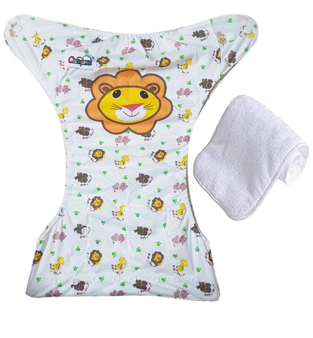 Baby Kids Wshable Reusable Pocked Diaper With 3 Layered Soaker Insert - LION