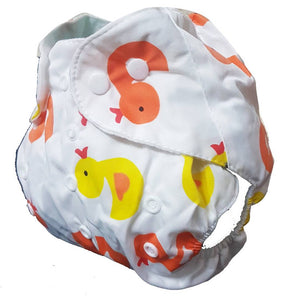 Baby Kids Wshable Reusable Pocked Diaper With 3 Layered Soaker Insert - Duck