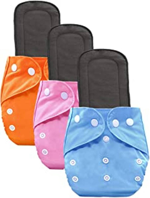 Baby Cloth Diaper Pants and Insert One Size Adjustable Washable Reusable, 3-Pieces