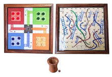 Load image into Gallery viewer, Handmade Wooden 2 in 1 Ludo Magnetic Snakes and Ladders Travel - Export Quality