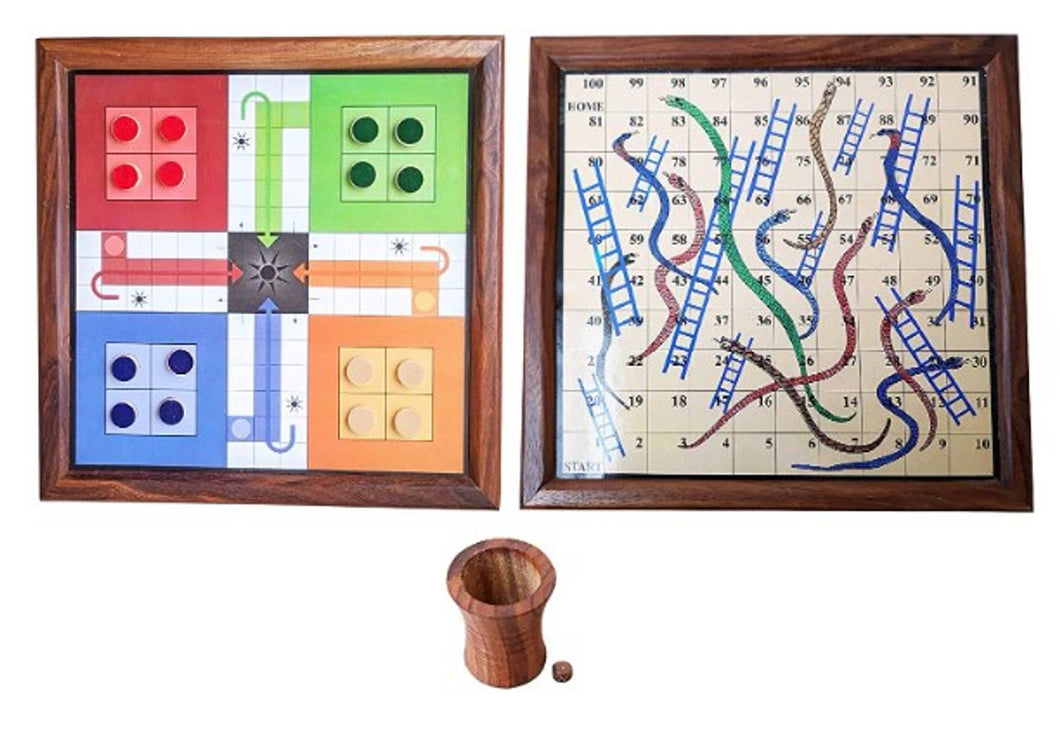 Handmade Wooden 2 in 1 Ludo Magnetic Snakes and Ladders Travel - Export Quality