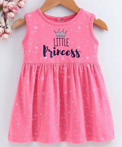 Girl's Printed Pink Cotton Frocks