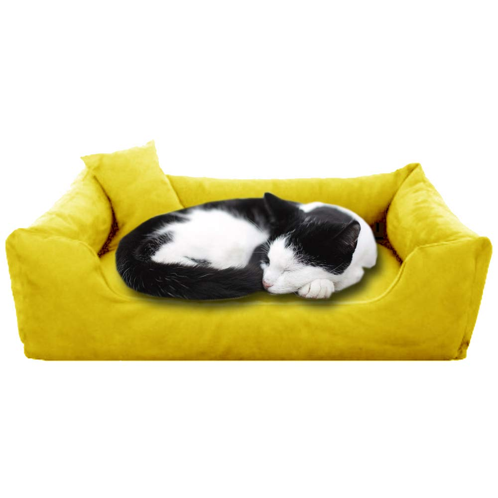 Yellow - Pet Royale Velvet Cat Bed