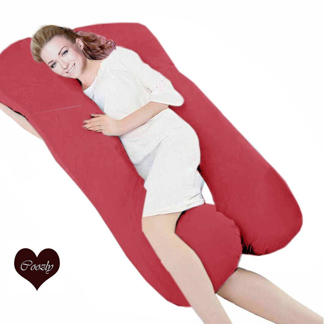 Red - Coozly Premium LYTE Body Contour Pregnancy Pillow