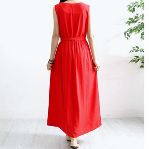 Belted Gathered Maternity Dress