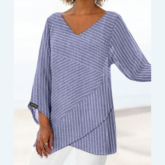 Blue Striped Layered Style Top for Women by Anthem