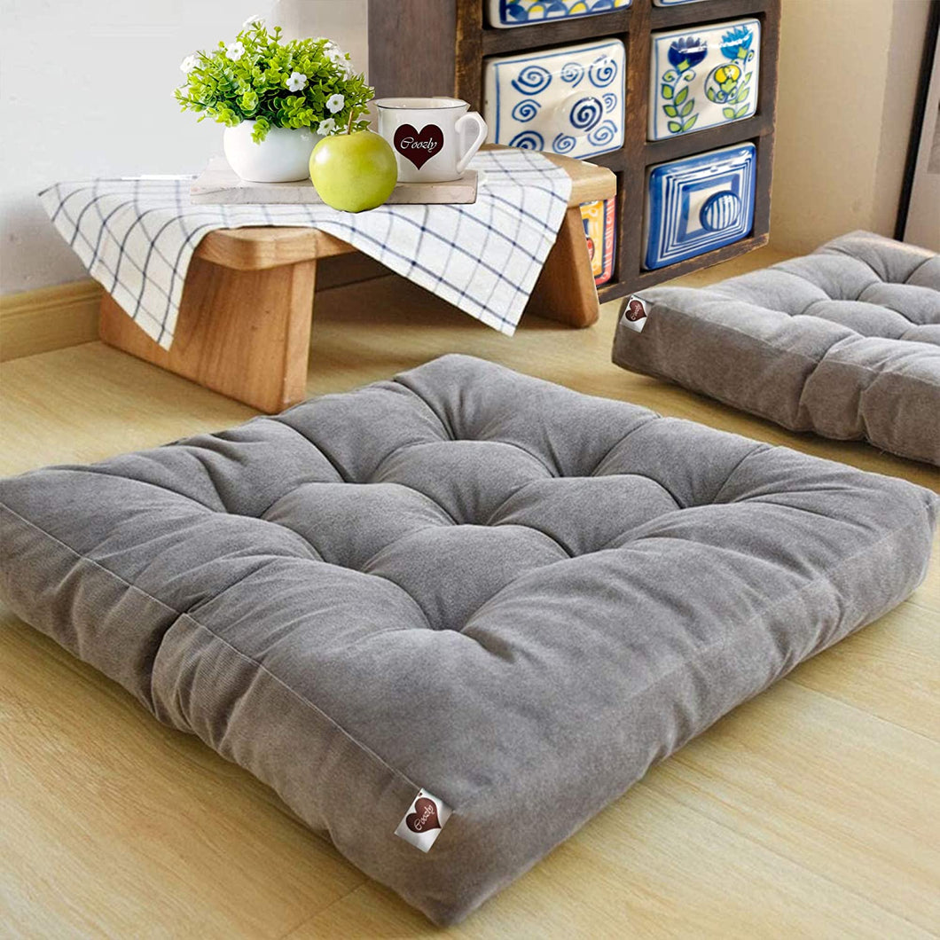 Grey Velvet Floor Cushion