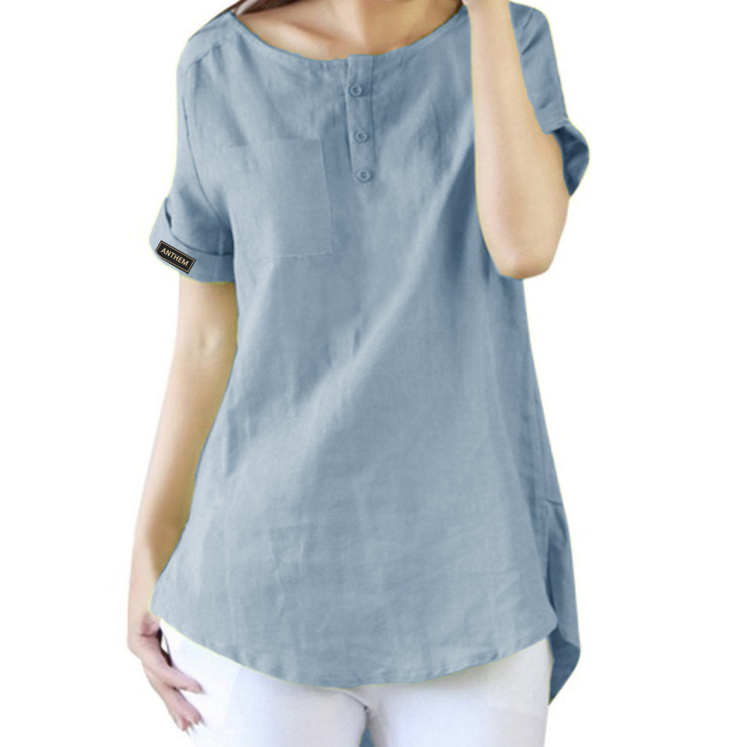 Light Blue Short Sleeve Relaxed Style Top for Women by Anthem