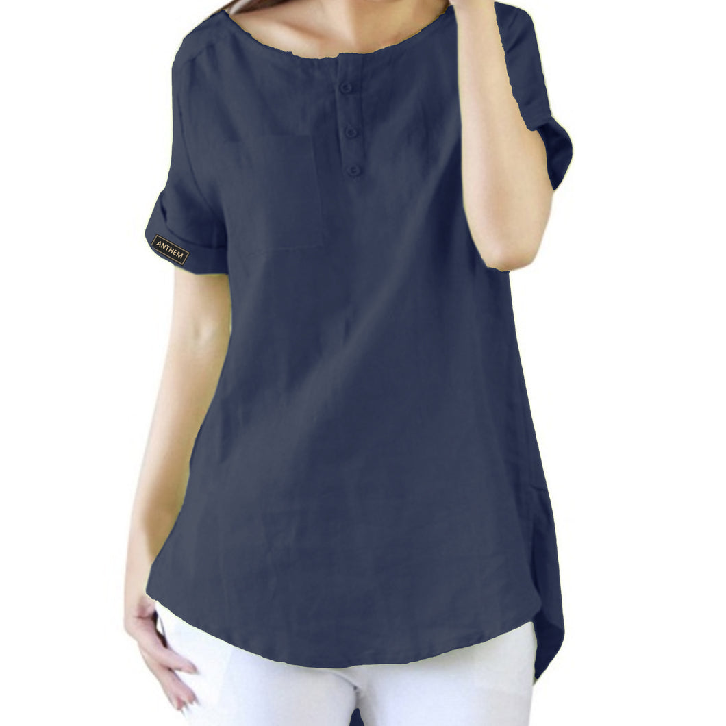Navy Short Sleeve Relaxed Style Top for Women by Anthem