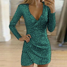 Load image into Gallery viewer, Glitter Slit Mini Dress