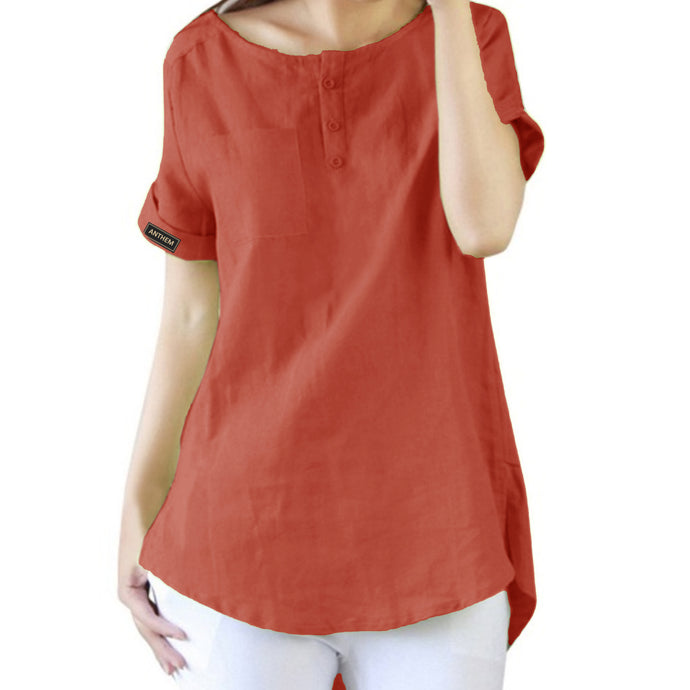 Red Short Sleeve Relaxed Style Top for Women by Anthem