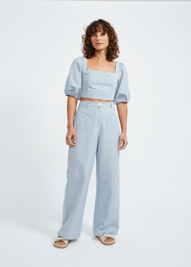 Staple The Label Elise High Waisted Pant - Dusty Blue