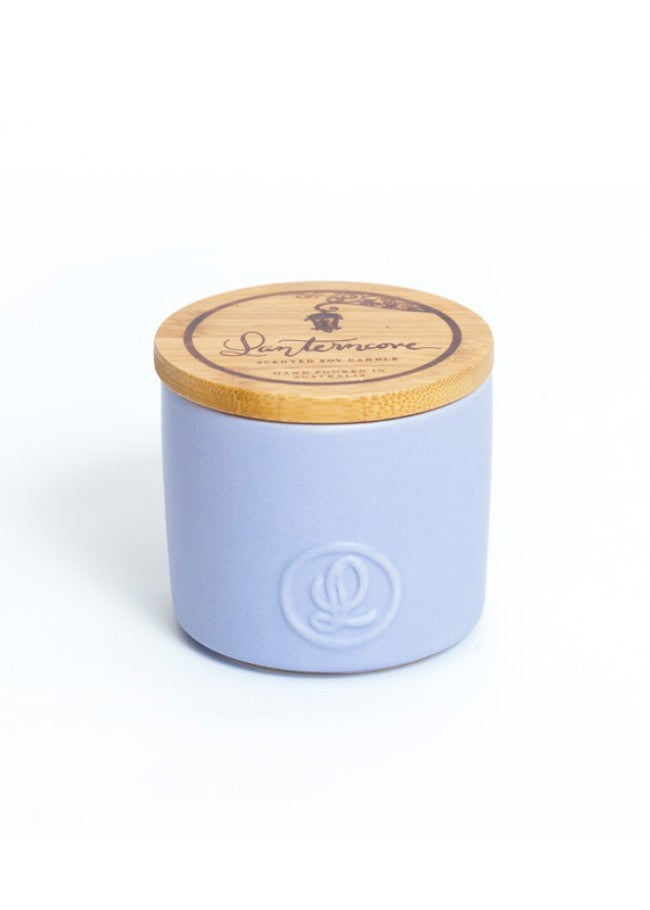 Lanterncove Pastel 8oz Soy Wax Candle - Smoked Wood & Patchouli.