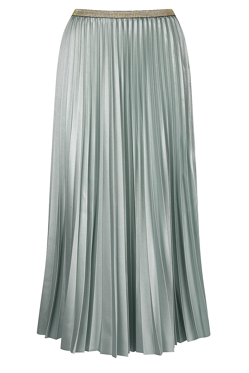 Bande Studio Pleated Satin Skirt - Frosty Green