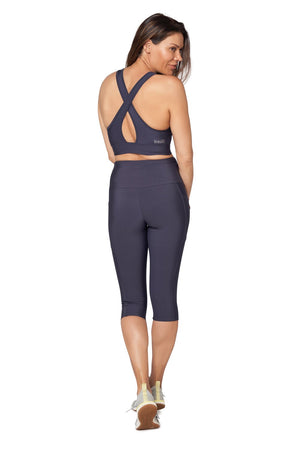 Brasilfit High Waisted 3/4 Tech Power Legging - Navy