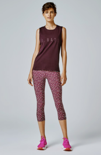 Running Bare Ab Waisted 3/4 Tight- Claret