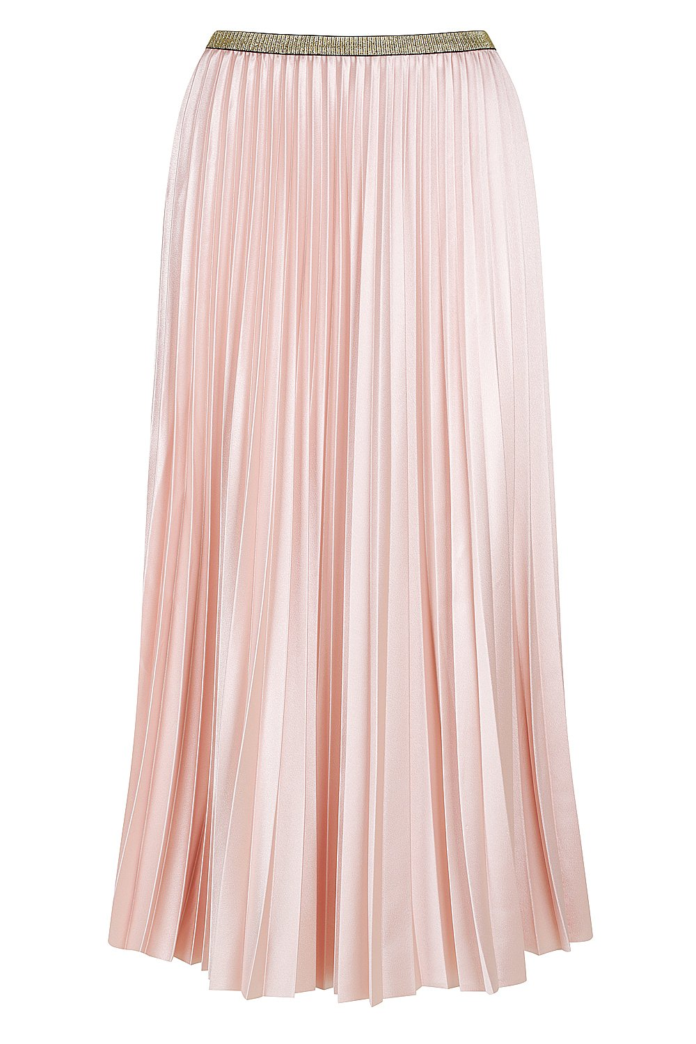Bande Studio Pleated Satin Skirt - Champagne Pink