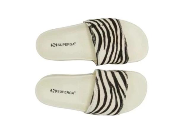 Superga 1908 Slide - Ecru Zebra