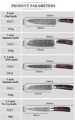 Stainless Steel Chef Knife Sets