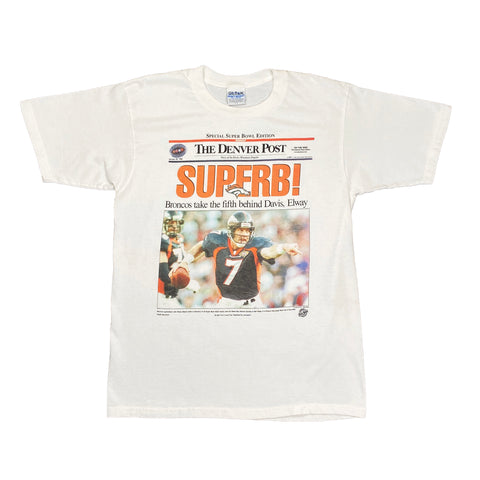 1998 Denver Broncos Superbowl Newsprint Graphic Tee