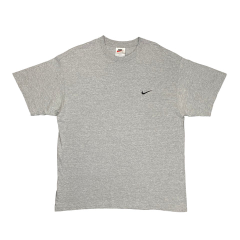 Vintage 1990's Nike White Tag Embroidered Small Swoosh Grey Tee