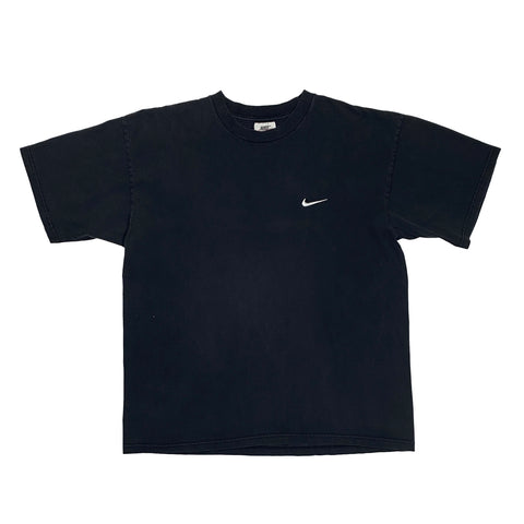 Vintage 1990's Nike White Tag Embroidered Small Swoosh Black Tee