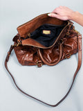 Miu Miu Brown Vitello Lux Fold-Over Mini Bow Satchel Bag
