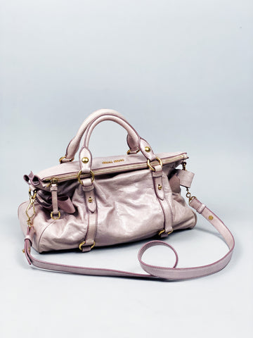 Miu Miu Dusty Pink Vitello Lux Fold-Over Mini Bow Satchel Bag
