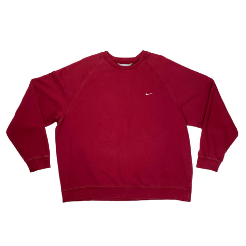 Early 2000's Nike Grey Tag Embroidered Burgundy Crewneck
