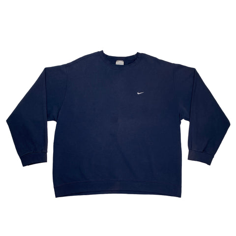 Early 2000's Nike Silver Tag Embroidered Navy Crewneck