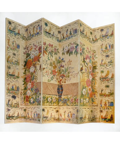 FRENCH CHINOSAIRE POLYCHROME  PAINTED SIX PANEL PAPER SCREEN