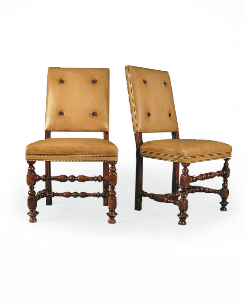 SET OF SIX ITALIAN BAROQUE WALNUT SIDECHAIRS