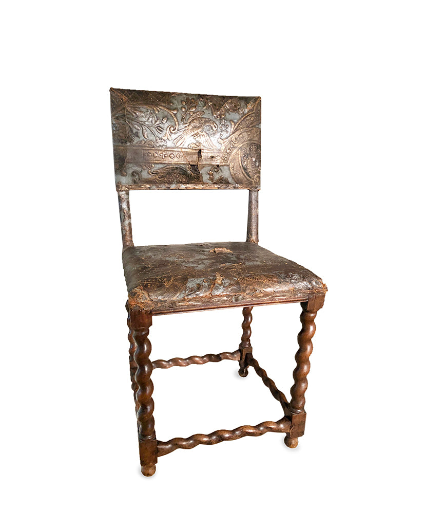 DUTCH BAROQUE OAK AND GILT TOOLED LEATHER SIDECHAIR