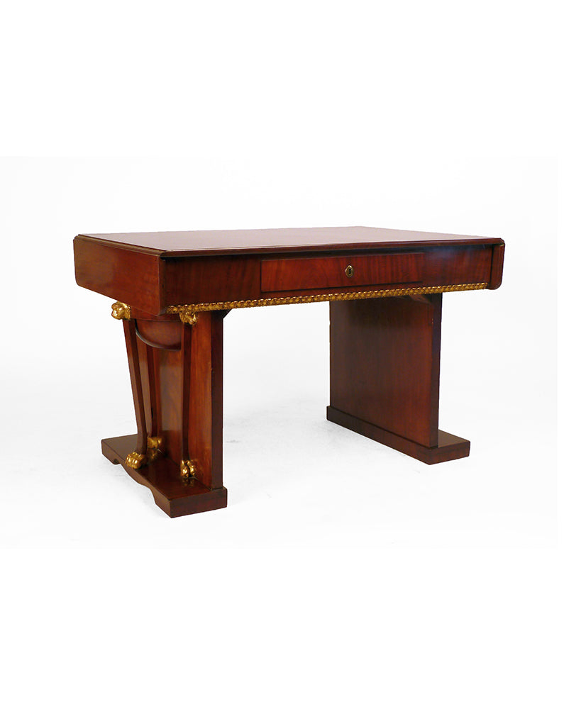 GERMAN EMPIRE MAHOGANY AND PARCEL GILT DESK