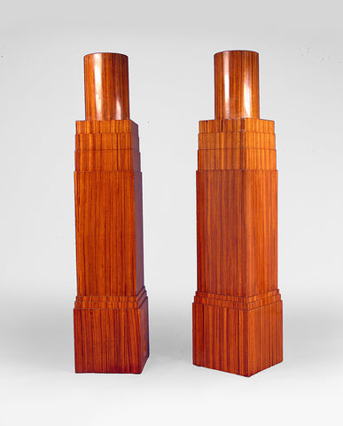 PAIR ITALIAN ROSEWOOD  ARCHITECTURAL TORCHERES