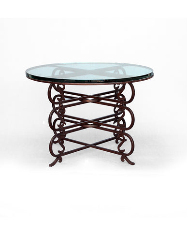 FRENCH WROUGHT IRON AND GLASS TABLE