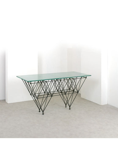 ITALIAN IRON AND GLASS CONSOLE