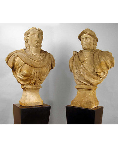 PAIR SPANISH  STONE BUSTS