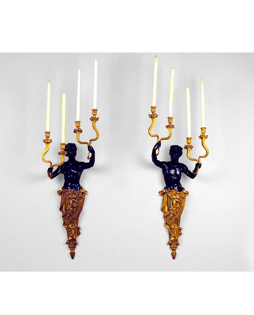 PAIR RUSSIAN LOUIS XVI  STYLE BRONZE DORE APPLIQUÉS