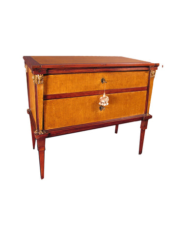 ITALIAN EMPIRE OCHRE AND RED PAINTED COMMODE