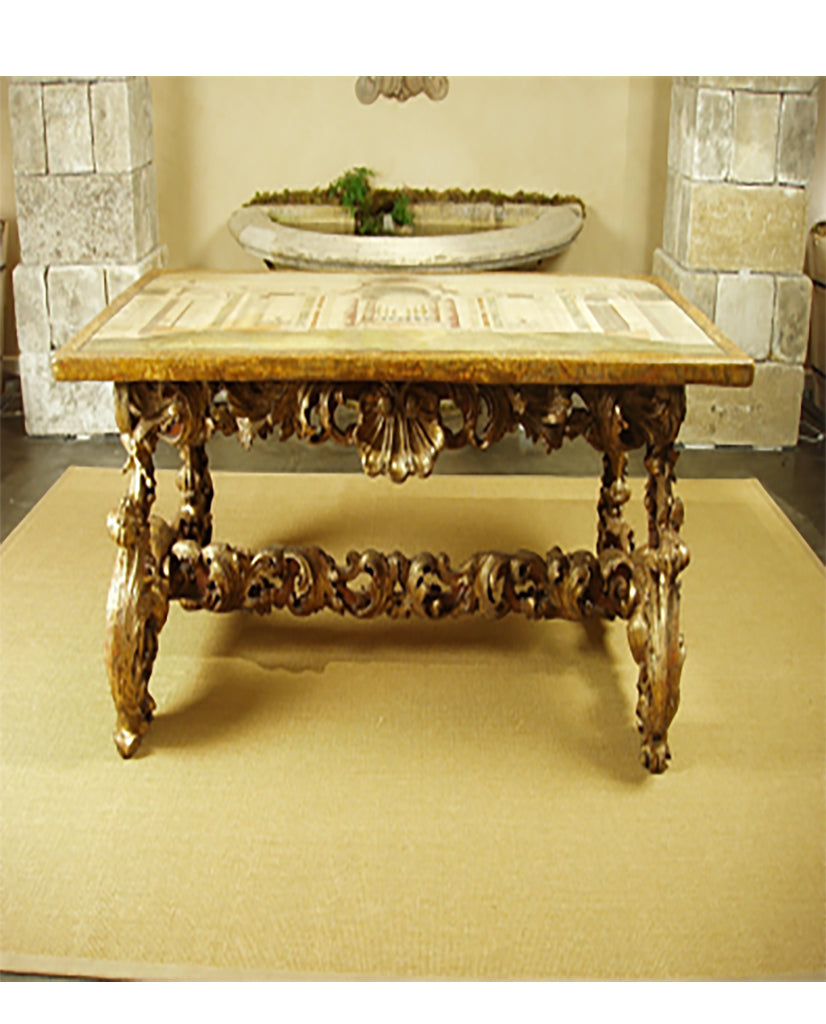 ITALIAN BAROQUE SCAGLIOLA PANEL ON  PARCEL-GILT BAROQUE BASE