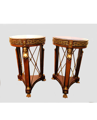 PAIR ITALIAN EMPIRE WALNUT AND FRUITWOOD PARCEL GILT GUERIDONS