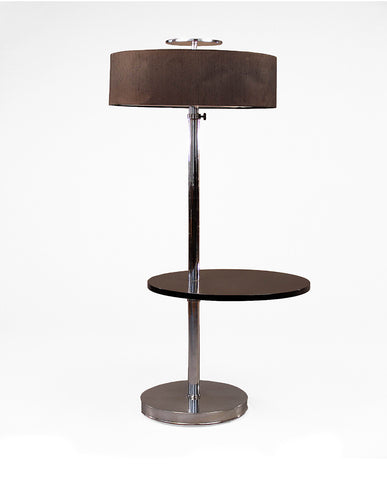 CHROMIUM TUBULAR  ADJUSTABLE STEEL AND EBONIZED WOOD FLOOR LAMP