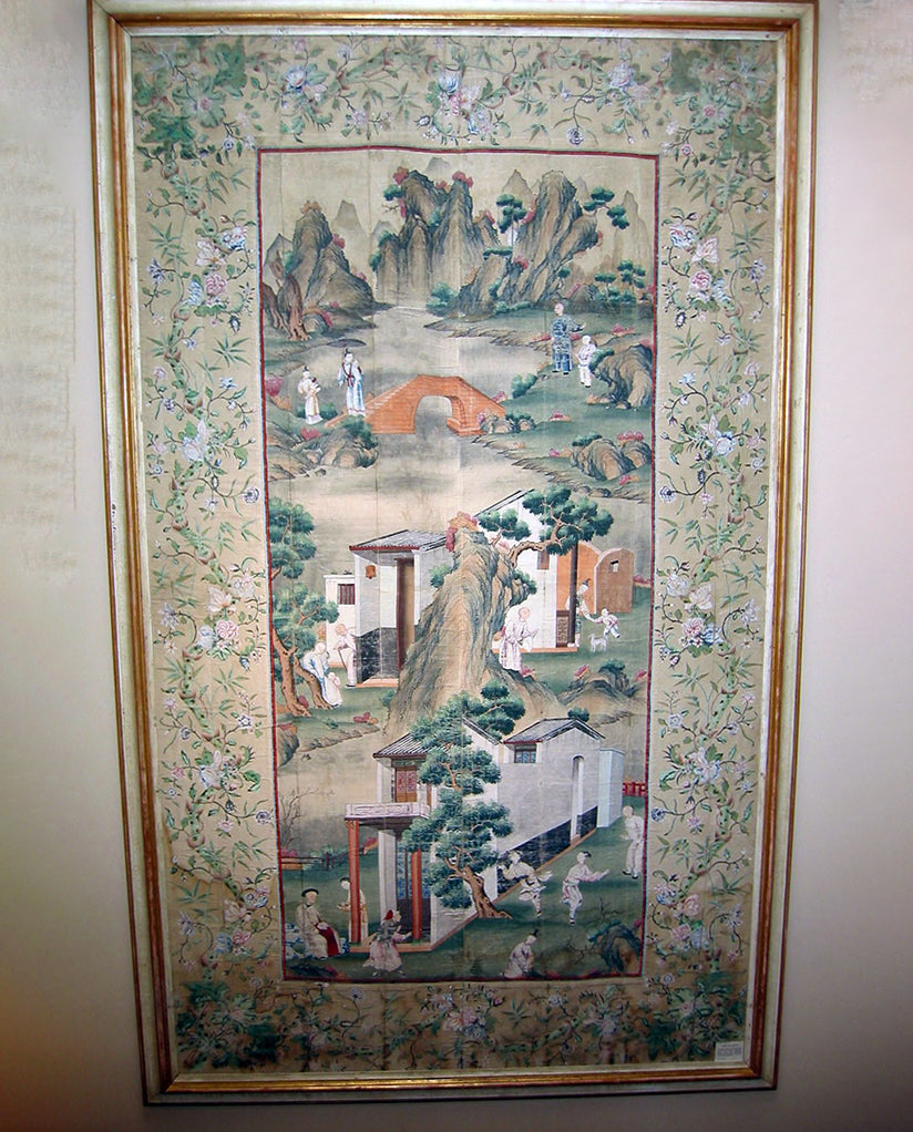 CHINOISERIE  PAINTED SILK PANEL