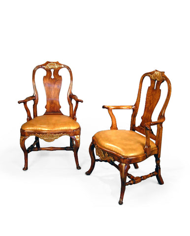 PAIR MATCHED DANISH ROCOCO  BEECHWOOD AND PARCEL-GILT ARMCHAIRS