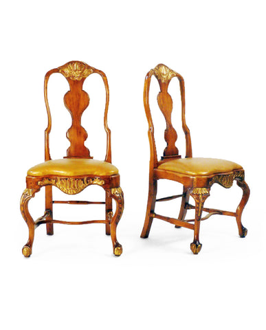 SET OF SIX DANISH ROCOCO  BEECHWOOD AND PARCEL-GILT CHAIRS